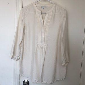 Garnet Hill Ivory Silk Tunic Blouse 4 EUC